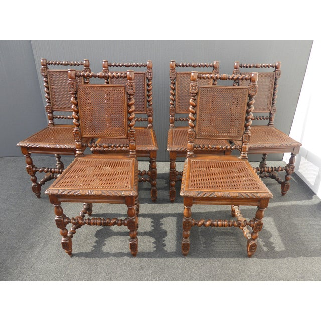 Spanish Style Dining Room Furniture: Brown Spanish Style Barley Twist Cane Dining Room Chairs