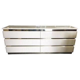 Mid-Century Beige Lacquered Brass Dresser