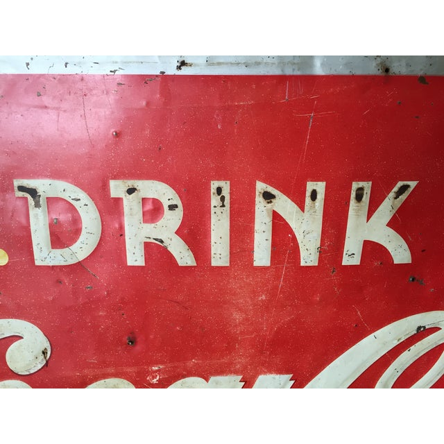 Vintage 1940s Original Metal Coca Cola Sign - Image 7 of 10