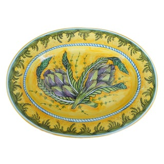 Tuscan Hand-Painted Artichoke Decorative Platter