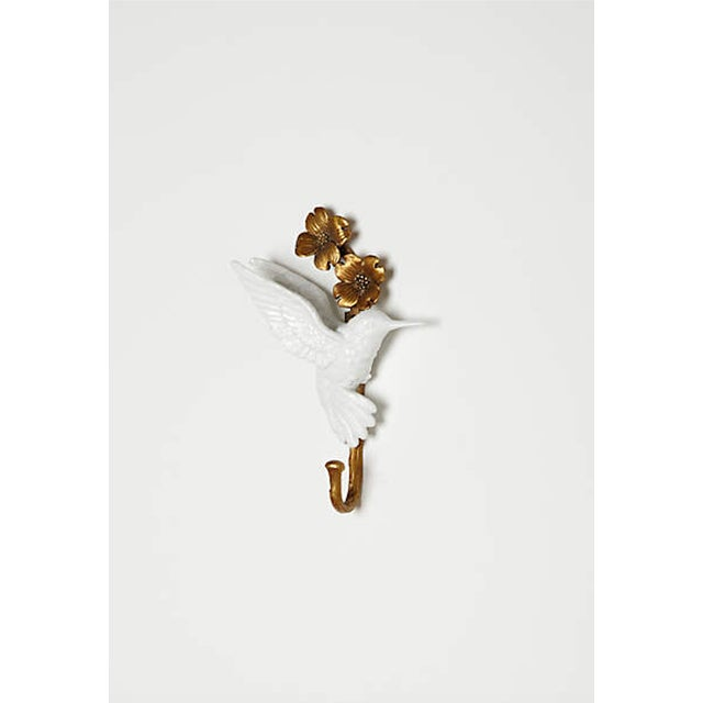 Porcelain & Brass Birds Wall Mount Hooks - Pair - Image 9 of 11
