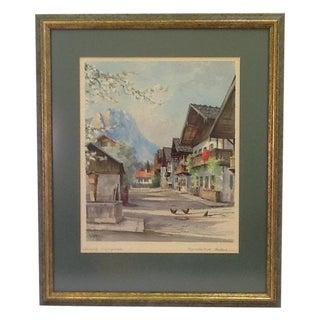 1960s German Village Original Watercolor