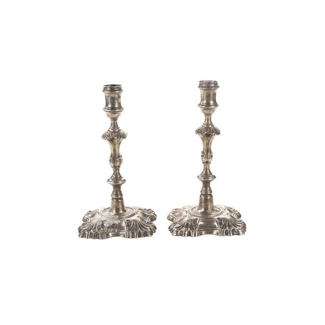 Image of 18th Century Sterling Silver Candlesticks - Pair