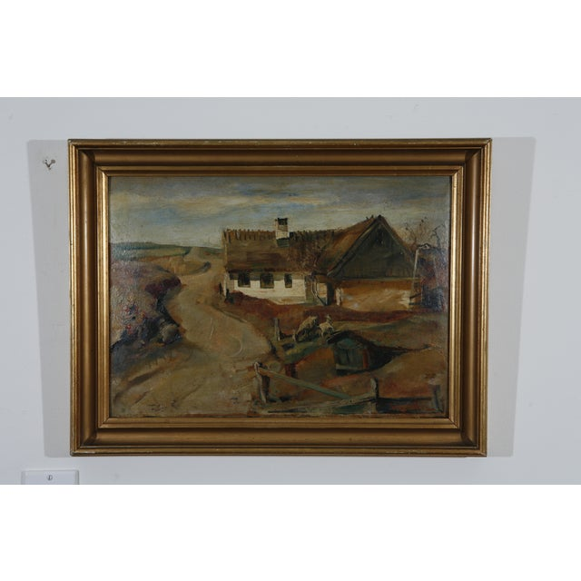 1900s Danish Country Oil Painting on Fiberboard - Image 2 of 6