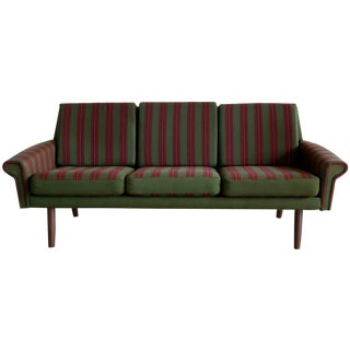 1960s Green Danish Sofa with Pink Stripes