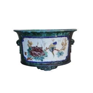 Chinese Ceramic Dimensional Flower Birds Round Green Glaze Planter