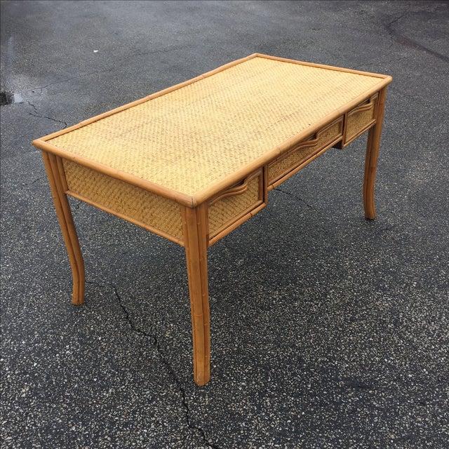 Vintage Island Bamboo Rattan Writing Desk - Image 3 of 11