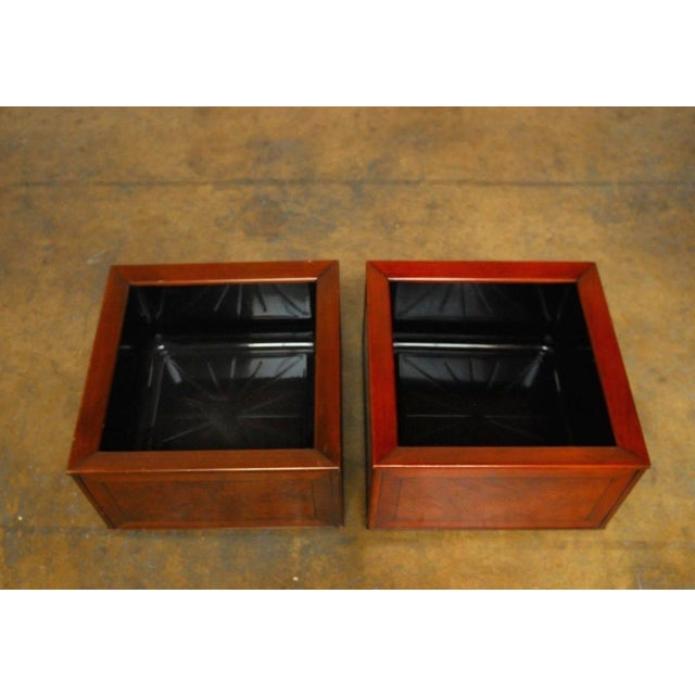 Image of Italian Planters With Burl Wood Insets - A Pair