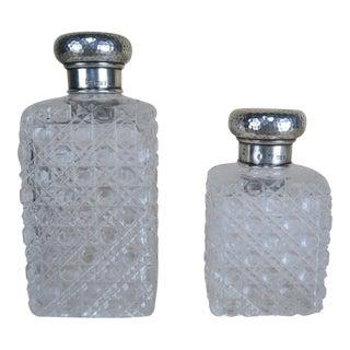 Set of Crystal Bottles w/ Sterling Tops