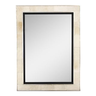 Mirror in Ivory Cowhide & Silver Finished Frame