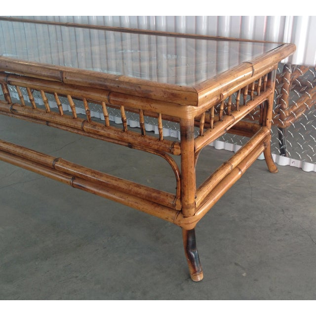 Vintage Glass Top Bamboo Coffee Table - Image 5 of 5