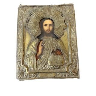 1900's Russian Icon w/Brass Oklad /Riza/Revetment