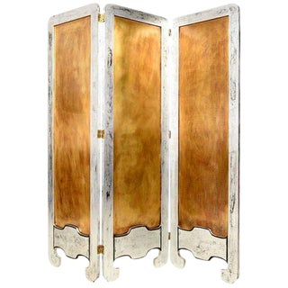 Mexican Modernist Mahogany Wood Room Divider With Silver Leaf & Brass Panel
