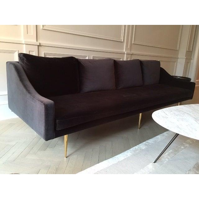 Organic Modernism Charcoal Velvet Sofa Chairish