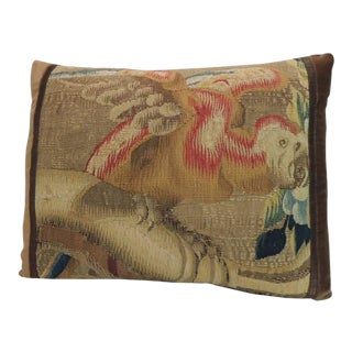 19th Century French Aubusson Tapestry Parrot Decorative Lumbar Pillow