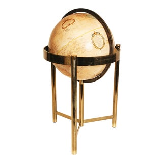 Mid-Century Modern Replogle World Globe W Brass Stand