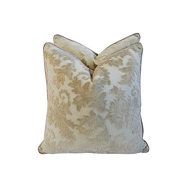 Gray French Cut/Uncut Velvet Pillows - A Pair - Image 4 of 7