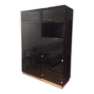 Modern Black Wood Media Cabinet