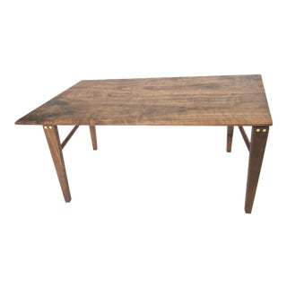 Minimalist Solid Claro Walnut Geometric Coffee Table
