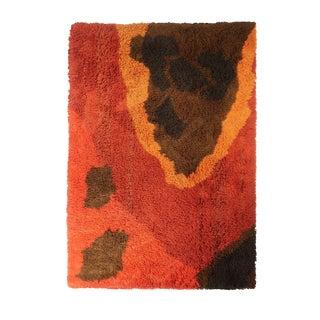 Vintage Abstract Scandinavian Rya Rug - 4′8″ × 6′4″