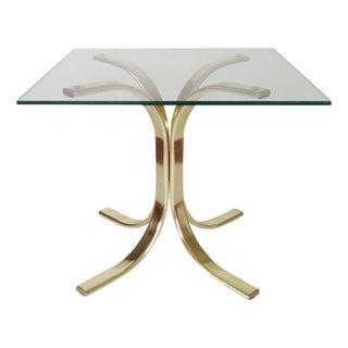 Vintage Hollywood Regency Gold Chrome Side Table