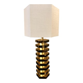 Hexagonal Gold Leaf Table Lamp