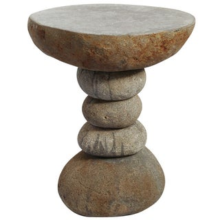 Stacked River Rock Side Table