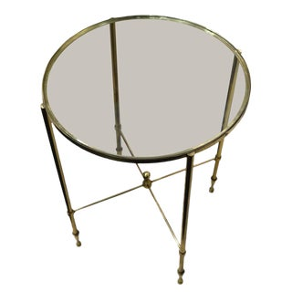 Round Bronze Base Glass Top Cocktail Table, France, 1960s