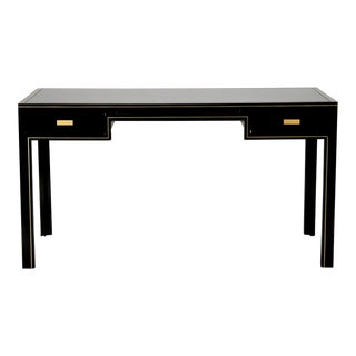 Pierre Vandel French Black Lacquered and Brass Desk