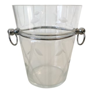 Art Deco Chrome & Engraved Glass Ice Bucket