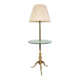 Vintage Queen Anne Traditional Solid Brass & Glass Occasional Floor Lamp Table