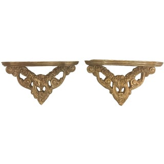 Gold Wall Sconce Shelves - A Pair