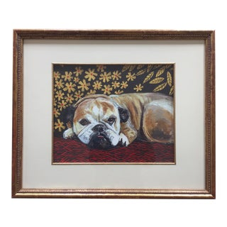 Bull Dog Print After Painting by Judy Henn Framed