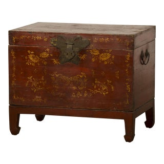 Antique Chinese Red Lacquer Trunk with Gold Painted Decoration Kuang Hsu Period circa 1875
