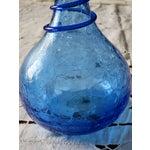 Image of Blenko Azure Swirl Crackle Vase