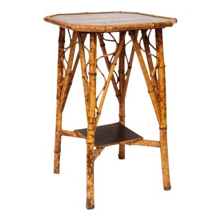 19th Century English Bamboo Lacquer Side Table