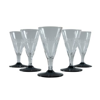 French Etched Sherry Glasses - Set of 5