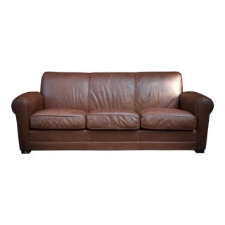 Vintage Room & Board Brown Leather Sofa