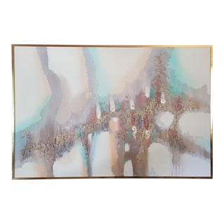 Vintage Abstract Signed Acrylic on Canvas in Pastel Colors