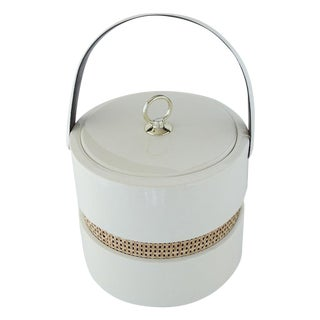 Vintage Patant Leather & Rattan Ice Bucket
