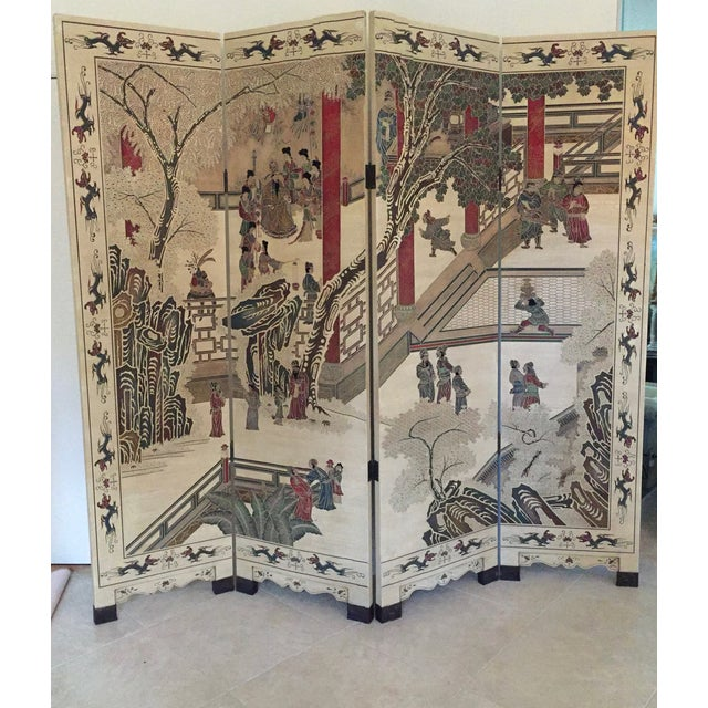 Hand-Painted Chinese Wood Screen - Image 6 of 11