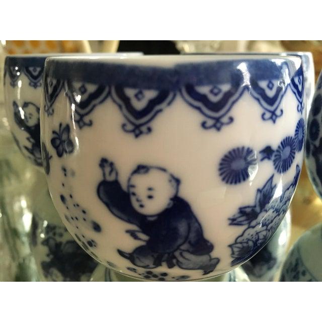 Image of Blue & White Porcelain Tea Cups - Set of 4