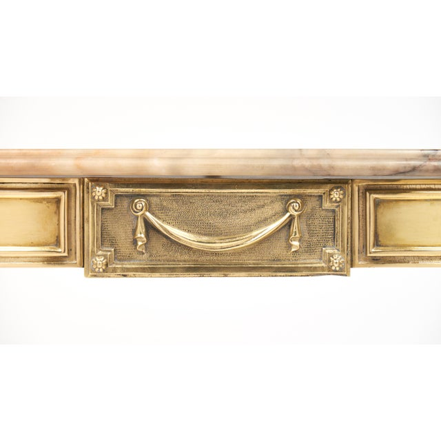 Neoclassic Marble-Top Brass Demilune Console Table - Image 10 of 11