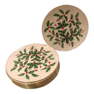Lenox Holly Berry Dinner/Cake Plates - Set of 8