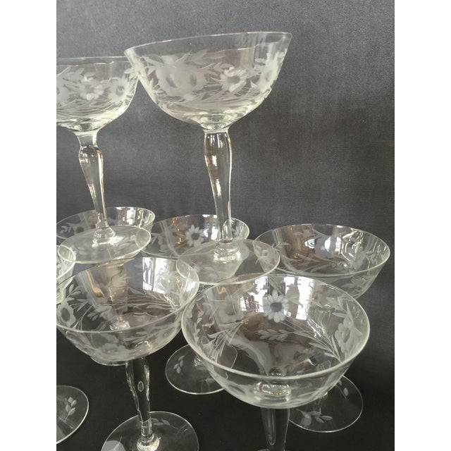 1940s Floral Etched Champagne Coupes- Set of 8 - Image 5 of 7