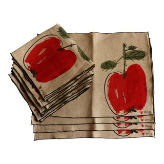 Vera Red Apple Placemats and Napkins - Service for 4