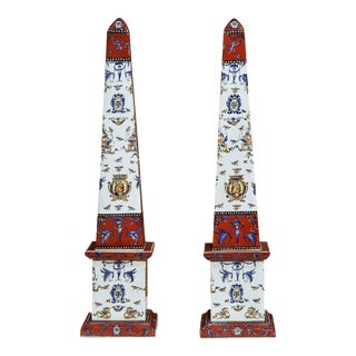 19th C. French Faience Obelisks - A Pair