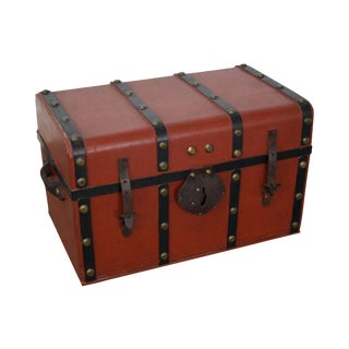 19th Century Antique John Baker of Boston Red Painted Leather Strap Traveling Trunk