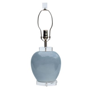 Slate Blue Crackle Ceramic and Lucite Table Lamp