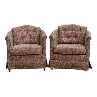 Barrel Shaped Club Chairs, A Pair
